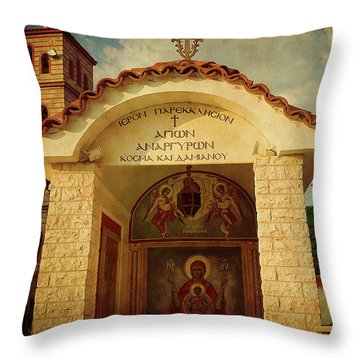 Throw Pillow featuring the photograph Greek Church by Milena Ilieva