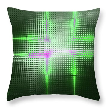 Green Aluminum Sparkling Surface. Metallic Geometric Abstract Fashion Background. Throw Pillow