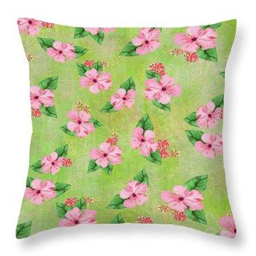 Green Batik Tropical Multi-foral Print Throw Pillow