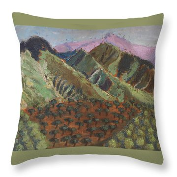 Green Canigou Throw Pillow