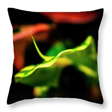 Green Croton Throw Pillow