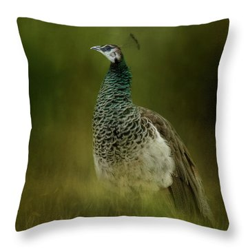 Green Gem In The Meadow  Throw Pillow
