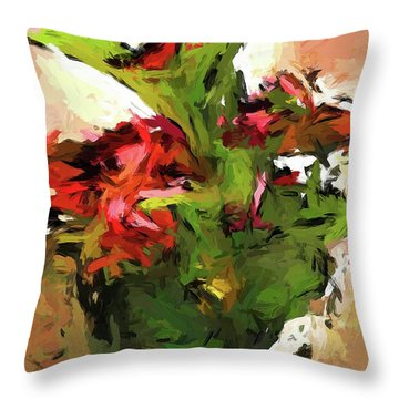 Green Leaves And The Red Flower Throw Pillow