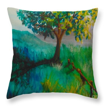 Throw Pillow featuring the painting Green Pastures by Saundra Johnson