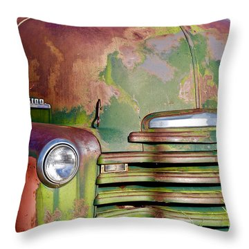 Green Rusted Grill Throw Pillow
