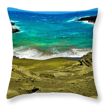 Green Sand Beach Throw Pillow