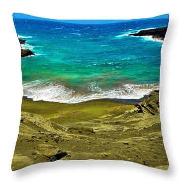 Green Sand Beach Throw Pillow