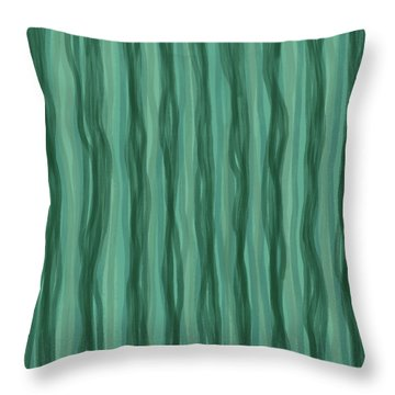 Green Stripes Throw Pillow