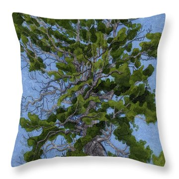 Green Tree, Hot Day Throw Pillow