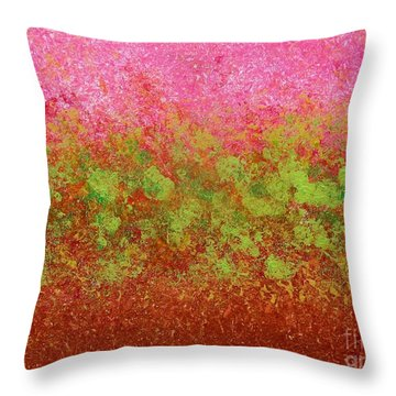 Greenery With Pink - Art By Cori Throw Pillow