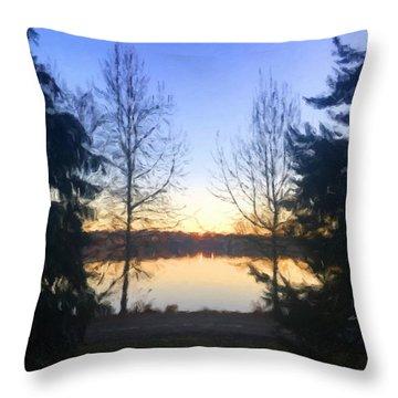 Greenlake Dawn Evergreens Throw Pillow