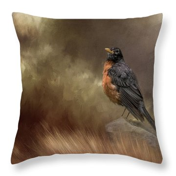 Greeting Autumn Throw Pillow