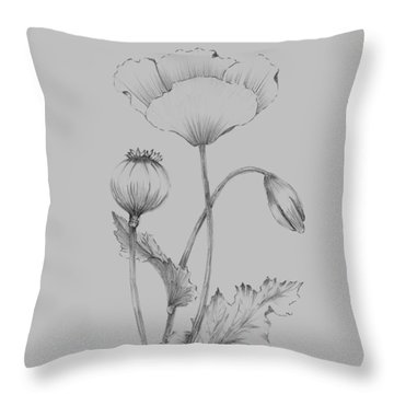 Grey Flower Sketch 3 Throw Pillow