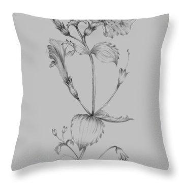 Grey Flower Sketch I Throw Pillow