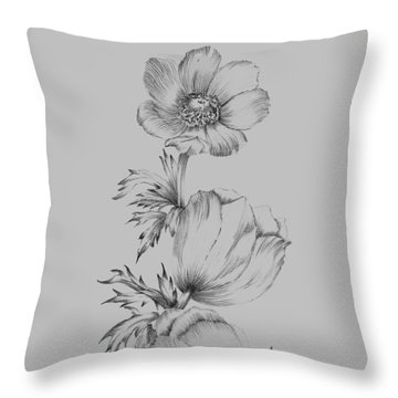 Grey Flower Sketch II Throw Pillow