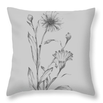 Grey Flower Sketch Illustration 3 Throw Pillow