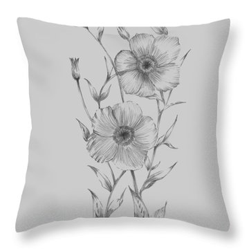 Grey Flower Sketch Illustration I Throw Pillow