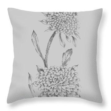 Grey Flower Sketch Illustration II Throw Pillow