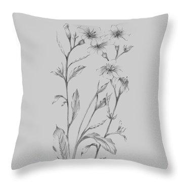 Grey Flower Sketch Illustration Throw Pillow
