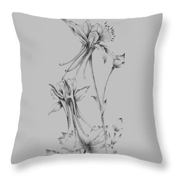 Grey Flower Sketch Throw Pillow
