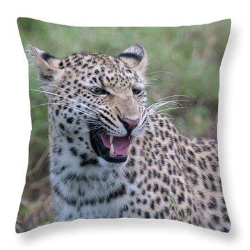 Grimacing Leopard Throw Pillow