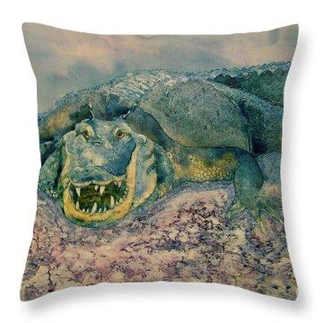 Grinning Gator Throw Pillow