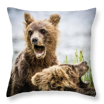 Grizzly Cubs Looking For Their Mum Throw Pillow