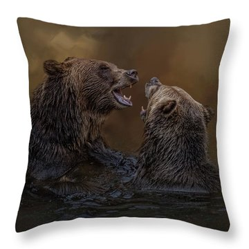 Grizzlies At Play Throw Pillow