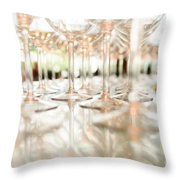 Group Of Empty Transparent Glasses Ready For A Party In A Bar. Throw Pillow