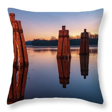 Group Of Three Docking Piles On Connecticut River Throw Pillow