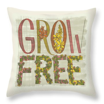 Grow Free Flowering Cacti Throw Pillow