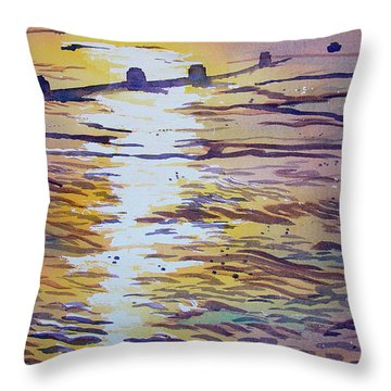 Groynes And Glare Throw Pillow