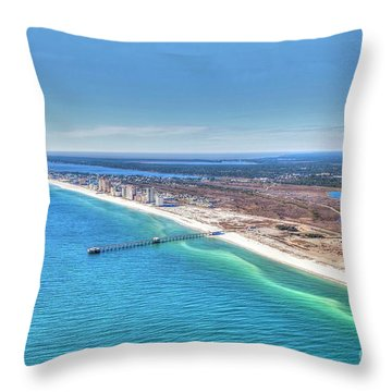 Gsp Pier And Beach Throw Pillow