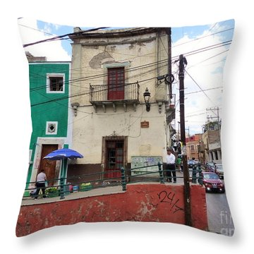 Throw Pillow featuring the photograph Guanajuato Street Corner by Rosanne Licciardi