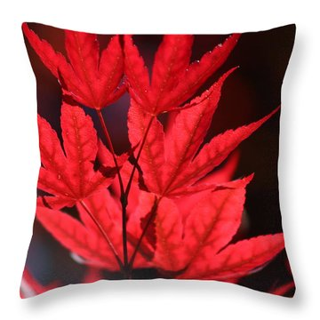 Guardsman Red Japanese Maple Leaves Throw Pillow