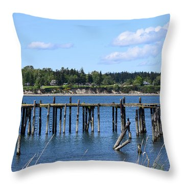 Guemes Island And Old Pier Throw Pillow
