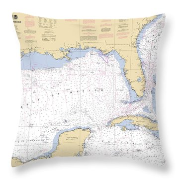 Gulf Of Mexico, Noaa Chart 411 Throw Pillow