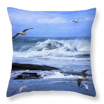 Gulls Just Wanna Have Fun Throw Pillow