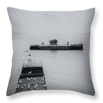 Throw Pillow featuring the photograph Gulls On The Pier by Guy Whiteley