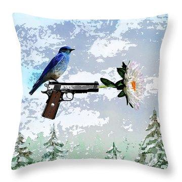 Bluebird Of Happiness- Flower In A Gun Throw Pillow