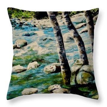 Throw Pillow featuring the painting Gushing Waters by Sher Nasser
