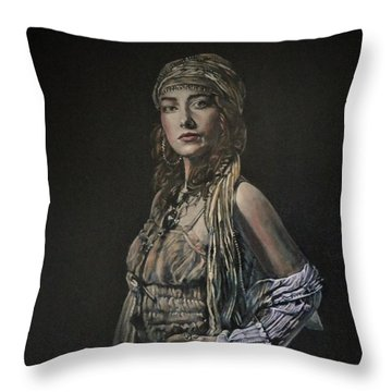 Throw Pillow featuring the painting Gypsy Portrait by John Neeve