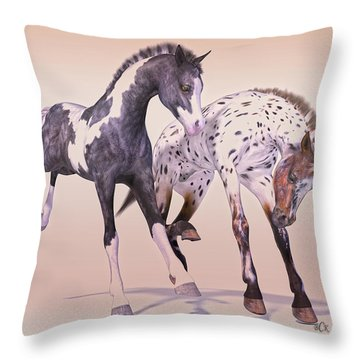 Gypsy Vanner And Leopard Appaloosa Best Friends Throw Pillow