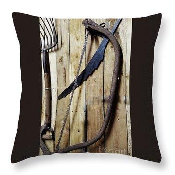 Hack Saw On Barn Wall Throw Pillow