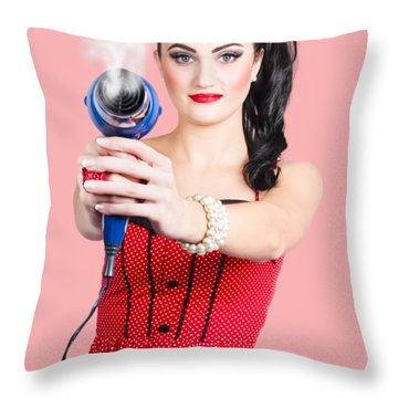 Hairdresser Woman Shooting A Cool Haircut In Style Throw Pillow