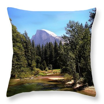 Half Dome From Ahwanee Bridge - Yosemite Throw Pillow