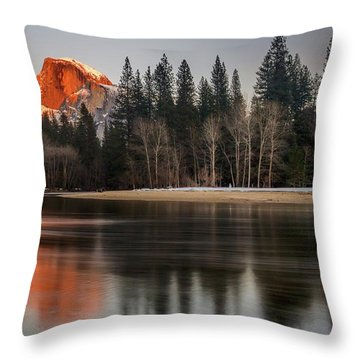 Half Dome Sunset In Winter Throw Pillow