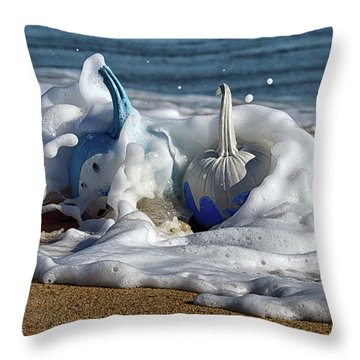 Halloween Blue And White Pumpkins In The Surf Throw Pillow
