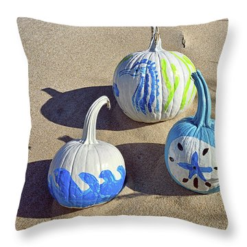 Throw Pillow featuring the photograph Halloween Blue And White Pumpkins On A Dune by Bill Swartwout Fine Art Photography