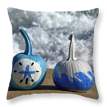 Throw Pillow featuring the photograph Halloween Blue And White Pumpkins On The Beach by Bill Swartwout Fine Art Photography